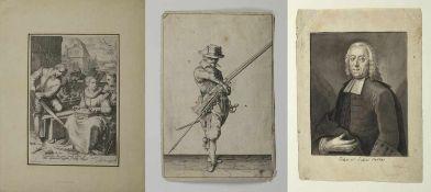 Saenredam u.a.Handwerker. Soldat mit Muskete. Portrait des Julius Hecker. 2 Kupferstiche. 1