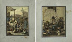 Frankreich, 19. Jh.Szenen auf dem Jahrmarkt. 2 Mischtechn. 13,5 x 10,5 cm.- - -27.00 % buyer's
