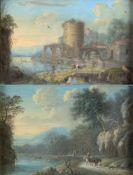 Unbekannt, 19. Jh.Ruinenstadt an einem Fluss. Flusslandschaft mit Reitern. 2 Gouachen. 13 x 19