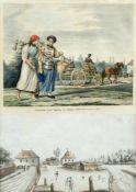 Lipowsky, F. J. u.a.Milchmädchen aus der Umgebung von München. Ansicht Augsburg. 1 Lithographie. 1
