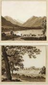 Süddeutsch, 19. Jh.Vue du Village de Greifenberg. Vue du Lac Nomme Shlier-See. 2 Radierungen. Bis