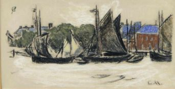 Monet, Claude. 1840 Paris - Giverny 1926Bateaux á voile en Hollande. Callichromie. 15 x 30 cm.- - -