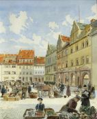 Woller, PeterMarktplatz möglicherweise in München. Aquarell über Bleistift. Sign. und dat. 18(97).