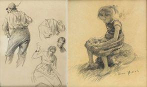 Wopfner, J. Thoma, E.Personendarstellungen. 3 Bleistiftzeichn. 2 verso mit dem Nachlassstempel. 1