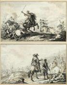 Kobell, Ferdinand. 1740 Mannheim - München 1799Szenen auf dem Schlachtfeld. 2 Tuschzeichn. Sign. Bis
