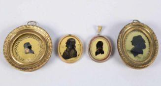 Deutsch, 19. Jh.Silhouetten von einer Dame und dreier Herren. 4 Eglomise. D. bis 4,5 cm. 3 besch.- -