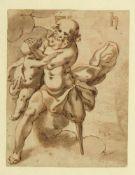 Monogrammist H.Mythologische Szene eines alten Mannes mit einem Kind. Tusch- und Rötelzeichn. 18 x