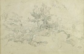 Dreber, Heinrich Franz. 1822 - 1875Italienische Landschaft. Bleistiftzeichn. Mit dem