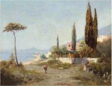 """Fischhof, Georg (1859 Wien-1914 Wien) Pseudonym: A.L. Terni """"ItalienischeKüstenlandschaft"""", Öl/"""