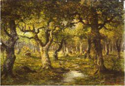 "Kaufmann, Adolf (1848-1916) ""Kuhherde mit Hirtin im Wald"", Öl/Hp., sign. u. dat. ""Paris1886"" u.r.,"