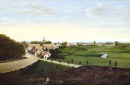 """Landschaftsmaler des 20. Jh. """"Sommerlandschaft mit Dorf"""", Öl/Mp., unsign., im unterenBereich"""