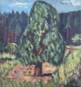 "Alexander Wolfgang (1894 Arnstadt-1970 Gera) ""Expressive Waldlandschaft"", Öl/Mp., sign.u.r., 44,"