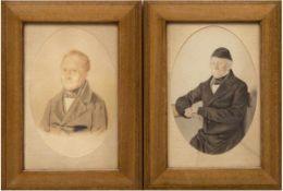 """Porträtmaler des 19. Jh. """"Porträt eines Herren"""", Aquarell/Farbstift/Papier, bez."""