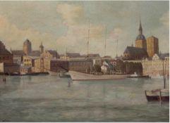 """Hoffmann, Wilhelm (1897-1986) """"Stadtansicht von Wismar"""", Öl/Hf., monogr. u.l., 45x60 cm,Rahmen"""