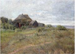 """""""Darßer Kate am Bodden"""", um 1900, Öl/Lw., undeutl. sign. u.r., 65x87 cm, Rahmen mitkleineren"""