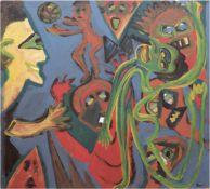 """Lesniwicz, Horst (1926-2003) """"Berliner Spielplatz"""", Öl/SH, monogr. u.r., kleinereBeschädigungen am"""