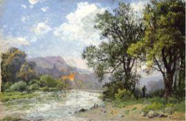 """Pflugradt, Franz (1861 Peenwerder/Demmin-1946 Zingst) """"Am Waldrand mit Blick auf denFluß"""", Öl/Hf.,"""