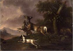 "Altmeister des 18. Jh. ""Hundemeute hetzt Rotwild"", Öl/Lw., doubliert, rücks. alterBesitzerstempel,"