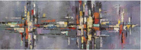 """Wellborn (20. Jh.) """"Ungegenständliche Reflexionen"""", Öl/Lw., sign. u. dat. '66 u.l., 24x65cm, Rahmen"""