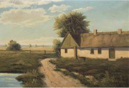 """Jessen, Aage (1876-1961) """"Sommerliche Landschaft mit Bauernhaus"""", Öl/Lw., sign. u.r.,45x65 cm,"""