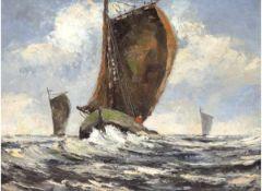 """Marinemaler um 1900 """"Fischerboote auf See"""", ÖlSH, undeutlich sign. u.r., 40x50 cm, Rahmen"""