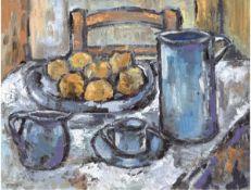 """Dubois, H. (20. Jh.) """"Stilleben mit Äpfel und Krügen"""", Öl/Mp., sign. u.l., 50x60 cm,Rahmen"""