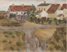 """Kai """"Expressive Dorfansicht"""", Öl/Lw., sign. u.l., rückseitig dat. 1949, Lw. wellig, 47x60cm, Rahmen"""