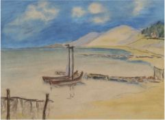 """""""Kurische Nehrung - Wanderdünen"""", um 1930, Pastell, unsign., rücks. undeutl.Atelierstempel, 28x37"""