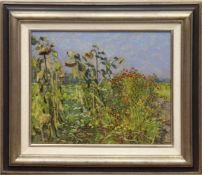 """Koepke, Robert (1893 Bremen-1968 St. Jürgen/ Worpswede) """"Blühender Garten mitSonnenblumen"""", Öl/"""