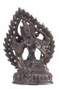 """Grüne Tara-Figur """"Auf Lotusthron mit Aureole sitzende weibl. Bodhisattva"""",Tibet/Nepal 20.Jh.,"""