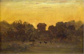 """Hildebrandt, E. (19. Jh.) """"Abendstimmung auf der Lichtung"""", Öl/Mp., sign. u.l., 11,5x16,5cm, Rahmen"""