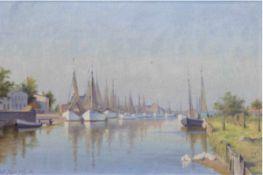 """Zuchors, Walter (1870 Leba/Pommern-1945) """"Hafen von Leba"""", Öl/Lw., sign. u. dat. '36 u.l.,kl."""
