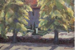 """Expressionist """"Blick hinter die Kirchenmauer"""", Öl/Lw., undeutlich sign. u.r., 47x67 cm"""