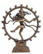 """Skulptur """"Shiva Nataraja, die auf einem Dämon tanzende hinduistische Gottheit"""", Metallguß,Indien/"""