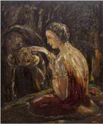 "Monogrammist ""C.R."" (Expressionist Anfang 20. Jh.) ""Andächtig kniende junge Frau"", Öl/Lw.,"