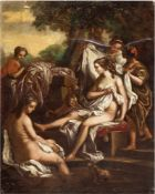 """Maler des 19. Jh. """"Diana im Bade"""", Öl/Mp.,unsign., 47x35,5 cm, stark besch."""