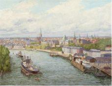 """Hoffmann, Wilhelm (1897-1986) """"Stettiner Panoramaansicht"""", Öl/Hf., sign. u. dat. 1962u.r., 61,5x77,5"""