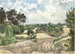 "Jauch, K. (20. Jh.) ""Feldlandschaft mit Bäumen"", Öl/Mp., sign. u.l., 60x80 cm, Rahmen"