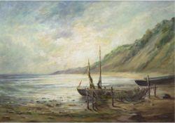 "Hoffmann, T. (20. Jh.) ""Fischerboote am Rügener Steilufer"", Öl/Lw., sign. u.r., 62x83 cm,Rahmen"
