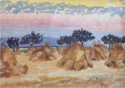 "Weiser, Paul (1877-1867) ""Kornhocken"", Öl/Mp., monogr. u.r., rücks. Aufkleber mitKünstlerangabe"
