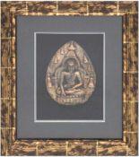 "Buddha ""Amitabha"", wohl Bronzefigur, 20. Jh., hinter Glas im Rahmen, H. 16 cm"