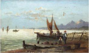 """Schöngrün, Alexis Carl Gottfried (1854 Wolgast-1942 Wolgast) """"Fischerboot am Strand"""",Öl/Lw., sign."""