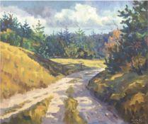 """Expressive Landschaft"", Öl/Lw., monogr. ""E.B.K."" u.r., 65x74 cm, Rahmen"