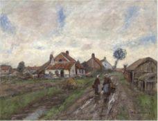 """Liesegang, Helmuth (1858 Duisburg-1945 Leipzig) """"Flämische Dorfstraße nach dem Regen"""",Öl/Lw.,"""