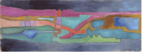 """Grundmann, Hedwig (1894-1987) """"Abstrakte Komposition"""", Öl/Lw./SH, sign. u.r., 24x62 cm,Rahmen"""