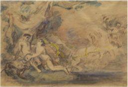 "Klossowski, Erich (1875 Raguit/Ostpr.-?) ""Mythologische Darstellung"", Aquarell, signiertu.l.,"
