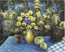 """Knoop, Heinz (20. Jh.) """"Stilleben mit Blumenvase und Obst"""", Öl/Lw., sign. u.r., 50x60 cm,Rahmen"""
