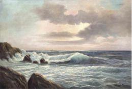 """Hora, Josef (1895-1970 Hamburg) """"Küste auf Rügen"""", Öl/Lw., sign. u.r., 70x100 cm, Rahmen("""
