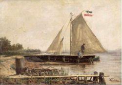 "Eschke, Hermann (1823-1900 Berlin) ""Angler auf dem Steg"", Öl/Lw./Mp., sign. u.r., dat. '70u.l.,"