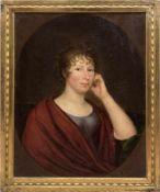 "Porträtmaler um 1800 ""Bildnis einer Dame"", Öl/Lw., unsigniert, 69x55 cm, doubliert, Rahmen"
